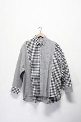 「maillot」sunset twin big shirt -black gingham-
