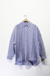 「maillot」sunset twin big shirt -blue gingham-