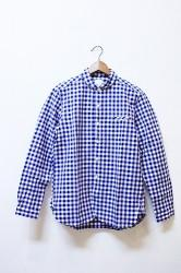 「maillot」 sunset big gingham work shirts -blue-