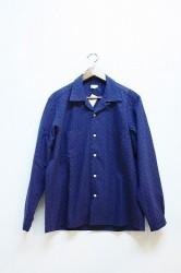 「norah」open collar shirt -navy-