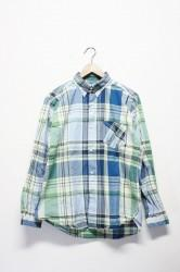 「spinner bait navy label」tab collar shirts -blue-