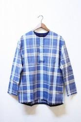 「maillot」 simple check henly smock -blue- Mサイズ