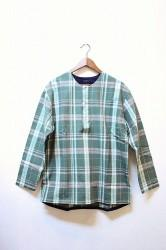「maillot」 simple check henly smock -green- (mens)