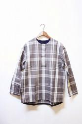 「maillot」 simple check henly smock -gry- (men&lady