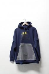 「Laugh&Be...」give peace a chance parka -navy-
