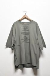 「leh」big size slit T-sh (william blake poem) khaki