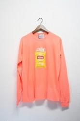 「neriame」snack L/S washed tee  -neon orange-