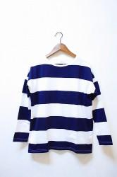 「maillot」 wide border 3/4 sleeve big tee(men&lady)