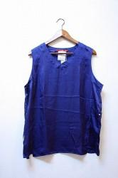「Leh」 Silk no-sleeve top -indigo- (mens&ladys)
