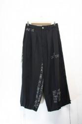 「leh」hand embroidery band wide pants (men&lady)