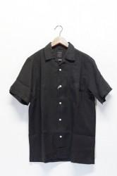 「maillot」linen open s/s shirts -black- (men)