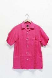 「maillot」linen open s/s shirts -salmon- (men)