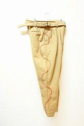 「Leh」 Hand Stitch 3Tuck Slacks -camel- (mens)