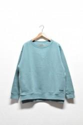 「a hope hemp」rib slit wide sweat -rain forest-