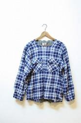 ★40%OFF★「ReAdd」 used check pullover shirt -blue-