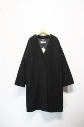 「a hope hemp」boa wide coat -black- (lady)