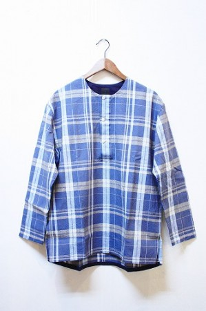 「maillot」 simple check henly smock -blue- (mens)