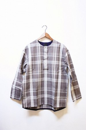 ★30%OFF★「maillot」 simple check henly smock -gry-
