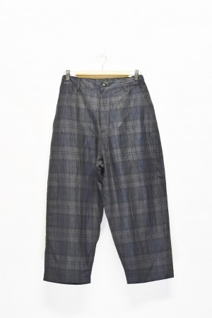 「KAFIKA」cotton linen check wide pants -grn-